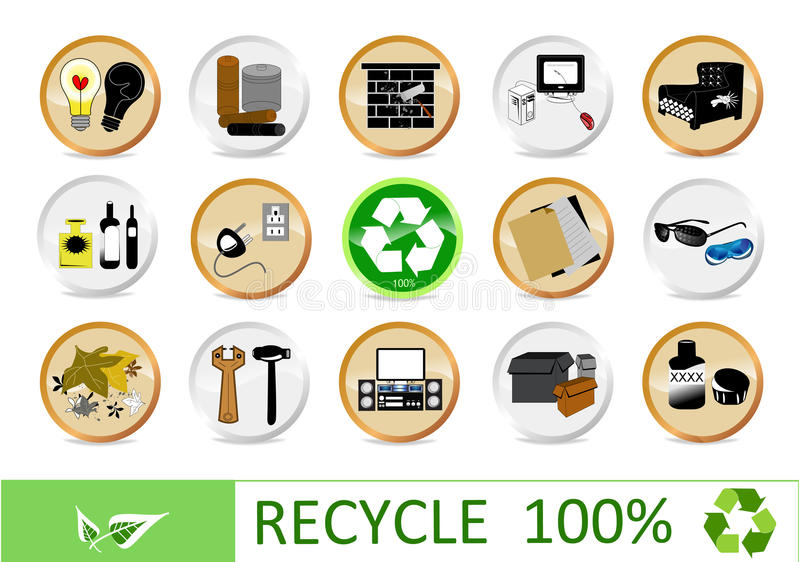 Recycling eco icons. For your web page stock illustration