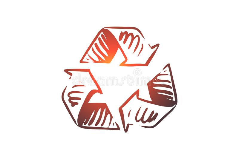 Recycling, ecology, eco, waste, environmental concept. Hand drawn isolated vector. Recycling, ecology, eco, waste, environmental concept. Hand drawn symbol of vector illustration
