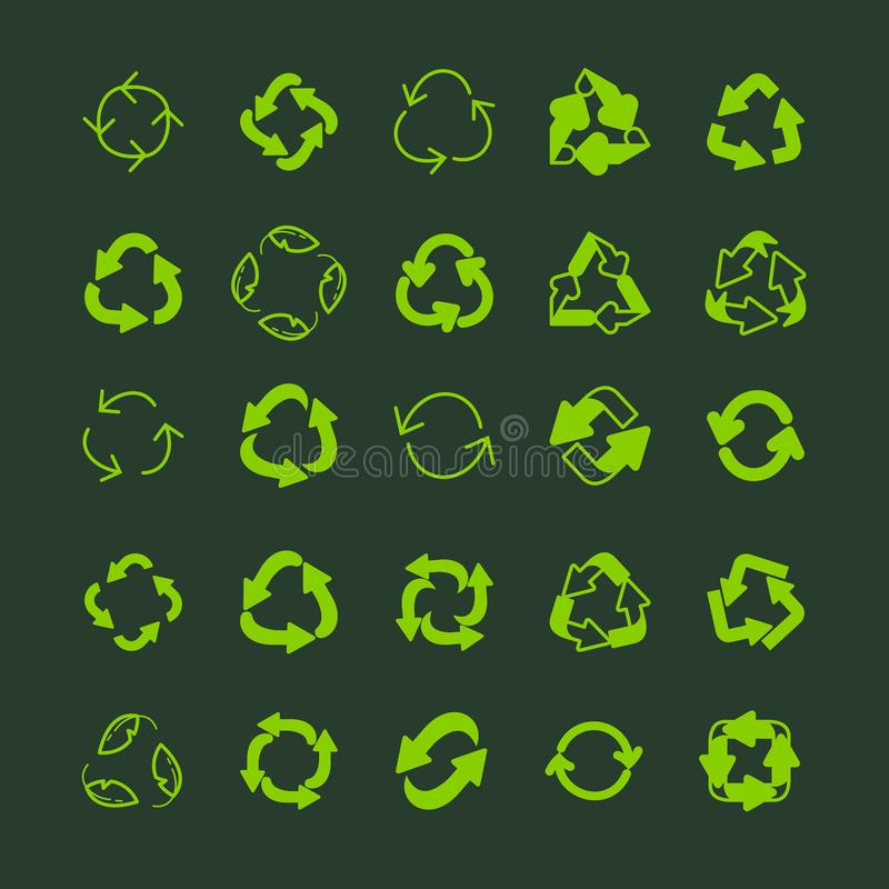 Recycling ecology thin line vector icon set. vector illustration