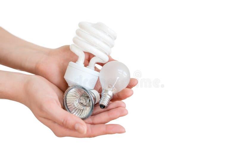 Recycling, elektriciteit, milieu en ecologieconcept - sluit omhoog van de energie van de handholding - besparing lightbulbs of la stock fotografie