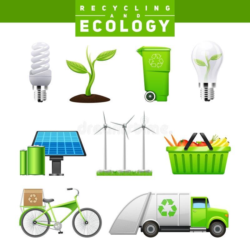Recycling en Ecologie Geplaatste Beelden vector illustratie