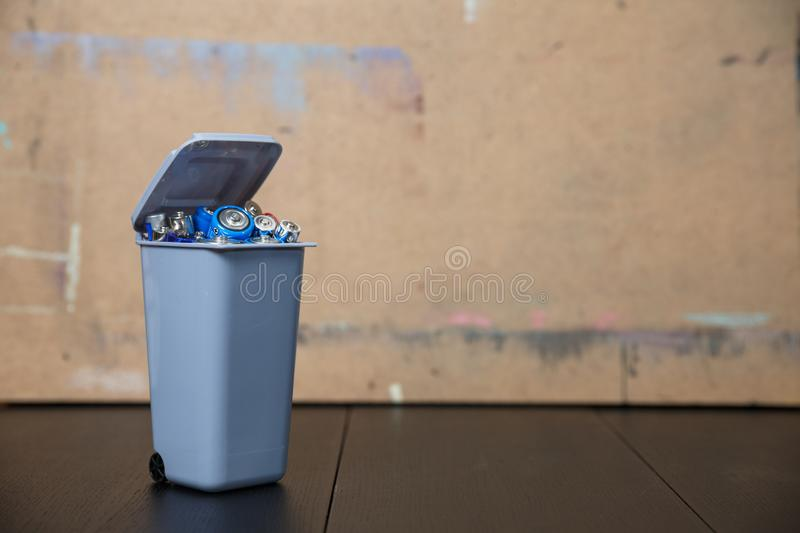 Recycling, energy, power, environment and ecology concept. Close up alkaline batteries heap royalty free stock photo