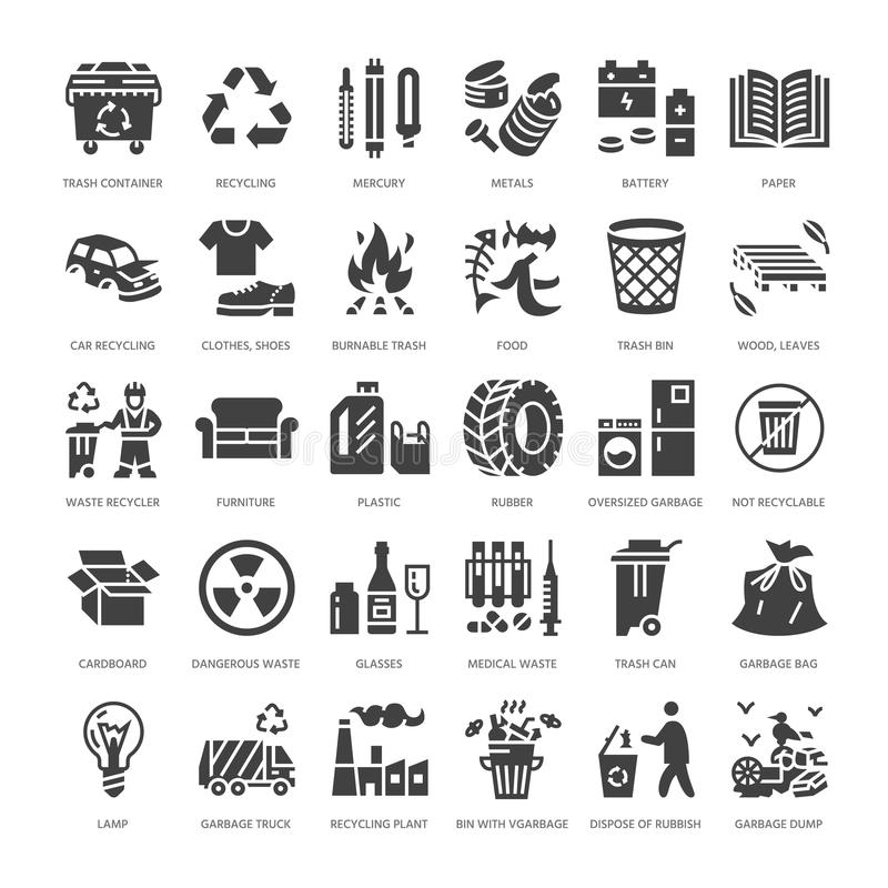 Recycling flat glyph icons. Pollution, recycle plant. Garbage sorting types - paper, glass, plastic, metal, flammable stock illustration