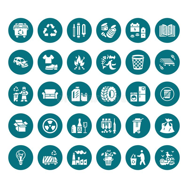 Recycling flat glyph icons. Pollution, recycle plant. Garbage sorting types - paper, glass, plastic, metal, flammable royalty free illustration