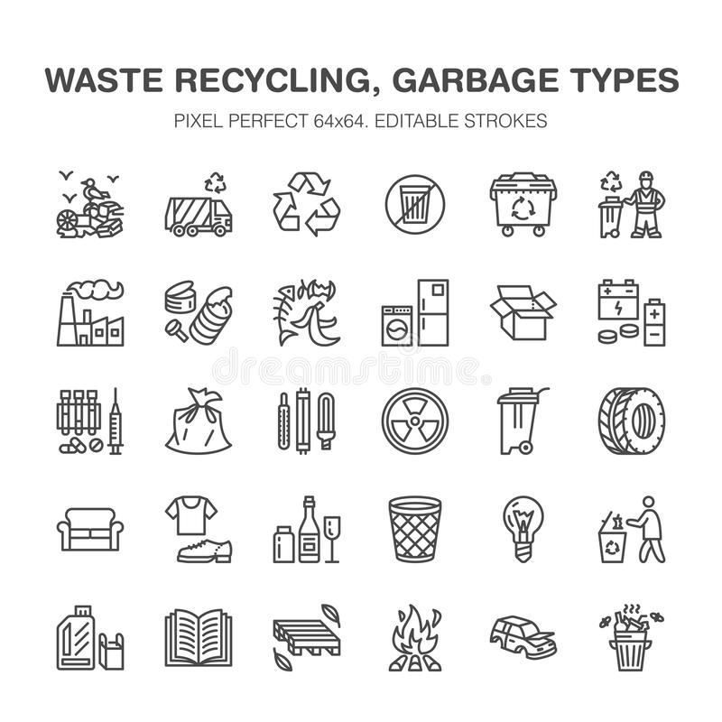 Recycling flat line icons. Pollution, recycle plant. Garbage sorting types - paper, glass, plastic, metal, flammable royalty free illustration