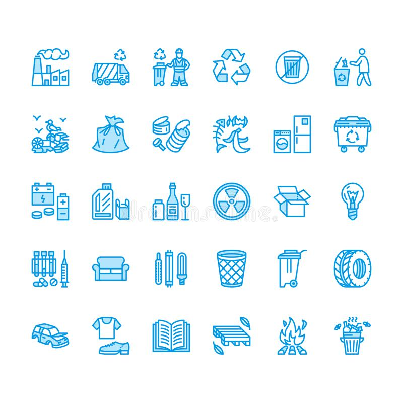 Recycling flat line icons. Pollution, recycle plant. Garbage sorting types - paper, glass, plastic, metal, flammable vector illustration