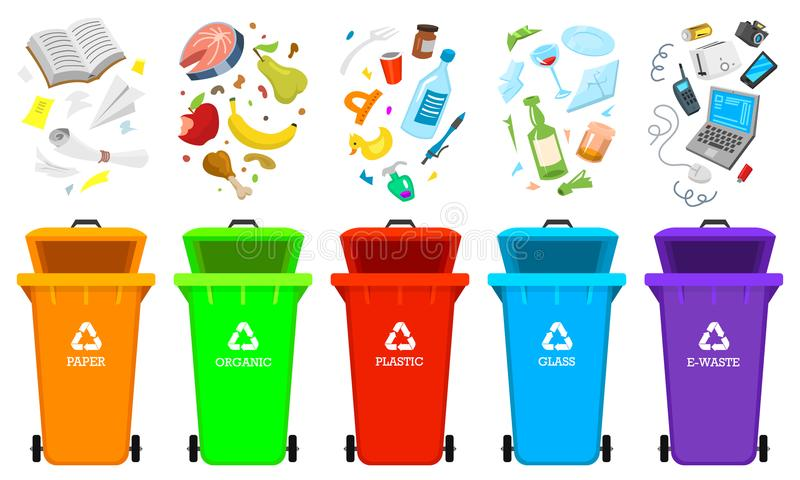 Recycling garbage elements. Bag or containers or cans for different trashes. Sorting and Utilize food waste. Ecology royalty free illustration