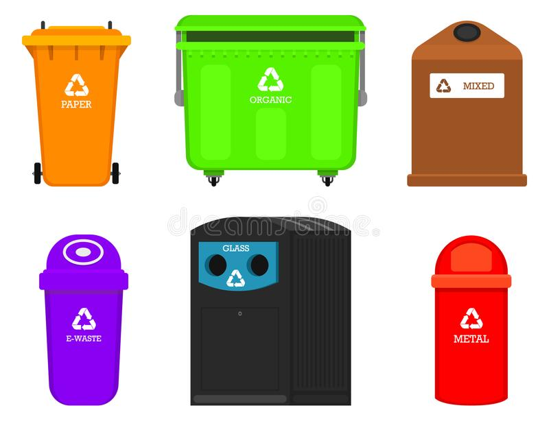 Recycling garbage elements. Bag or containers or cans for different trashes. Sorting and Utilize food waste. Ecology stock illustration