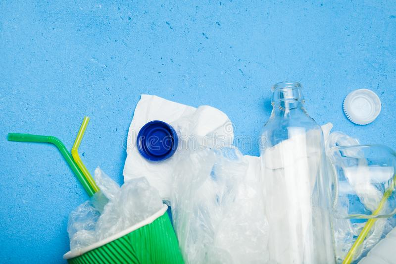 Recycling garbage and reusable waste management. Copy space for text royalty free stock photography