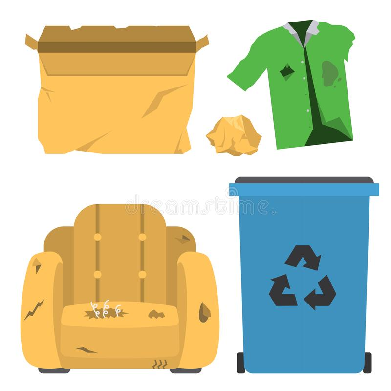 Recycling garbage vector trash bags tires management ecology industry garbage utilize concept waste sorting illustration. Recycling garbage vector trash bags vector illustration