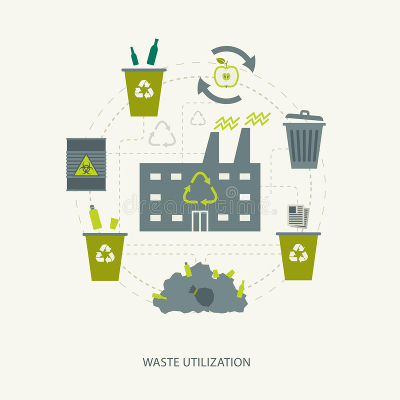 Recycling garbage and waste utilization concept. Environmental ecological background royalty free illustration