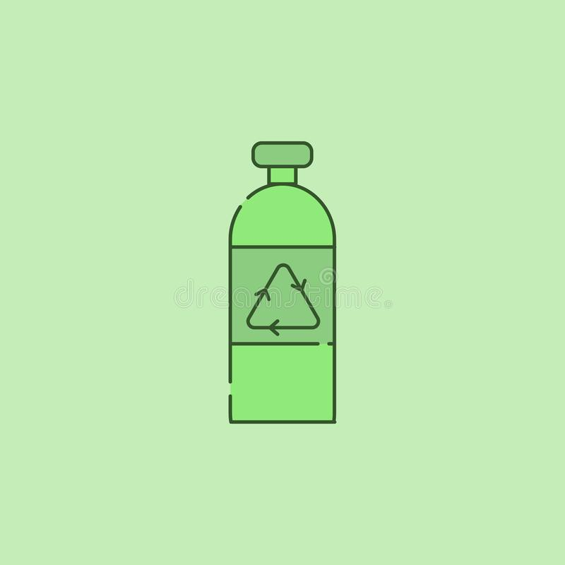 Recycling glass bottle icon. On green background royalty free illustration