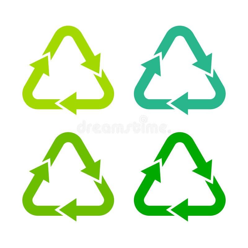Recycling green arrows symbol. S set vector illustration