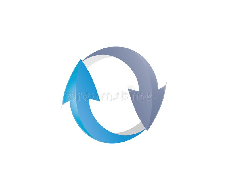 A logo of yin yang arrow. This recycling icon consists of two recycling arrows forming a yin-yang pose. it can be used as an icon for nature or ecological stock illustration