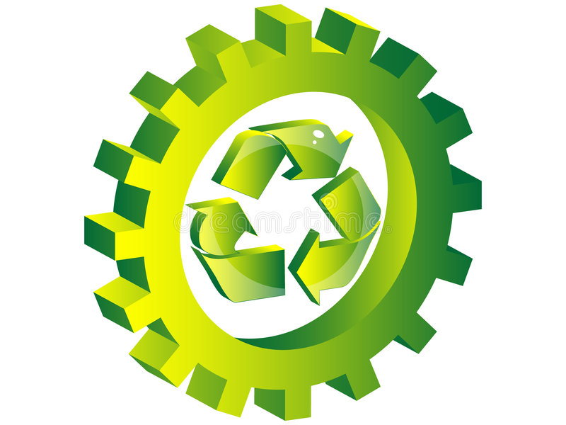 Recycling icon inside of gear royalty free illustration