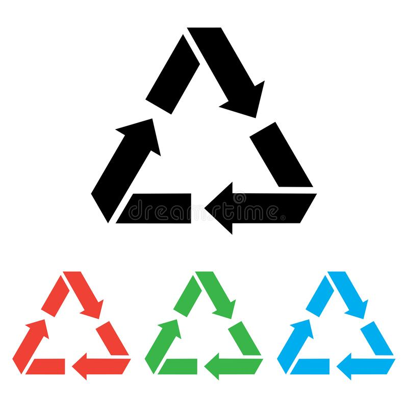 Recycling icon, waste sign. Black and color versions. Vector stock illustration