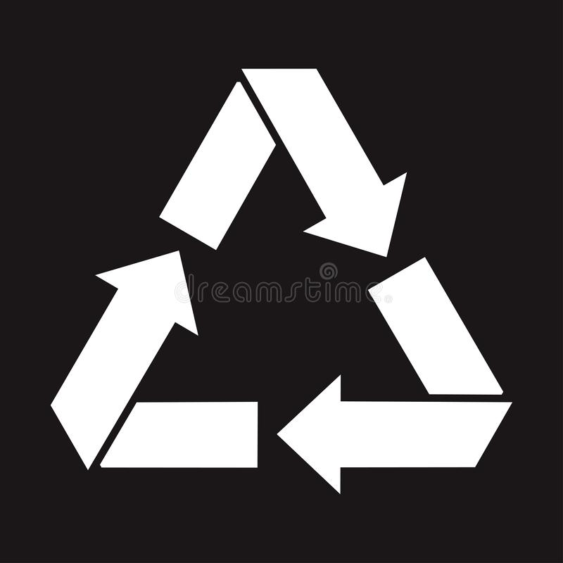 Recycling icon, white waste sign on black background. Vector vector illustration