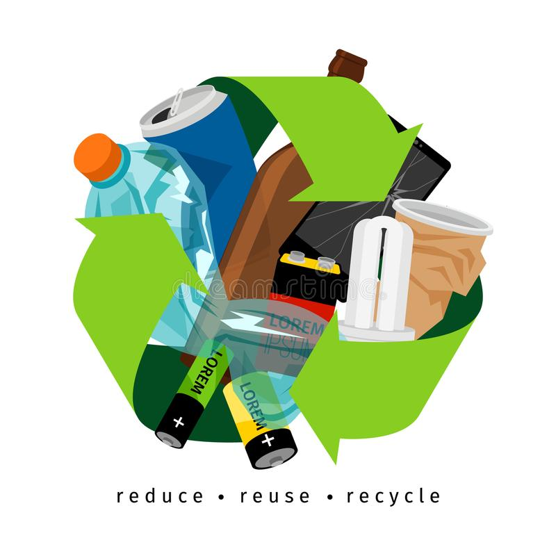 Recycling label with trash. And recycle sign, on white background, vector illustration royalty free illustration