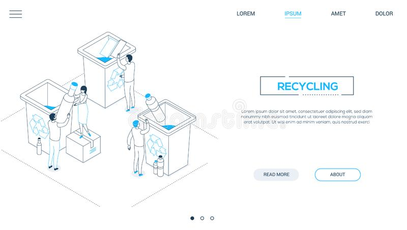 Recycling - line design style isometric web banner. With copy space for text. Website header with male, female characters sorting waste, dropping plastic, paper vector illustration