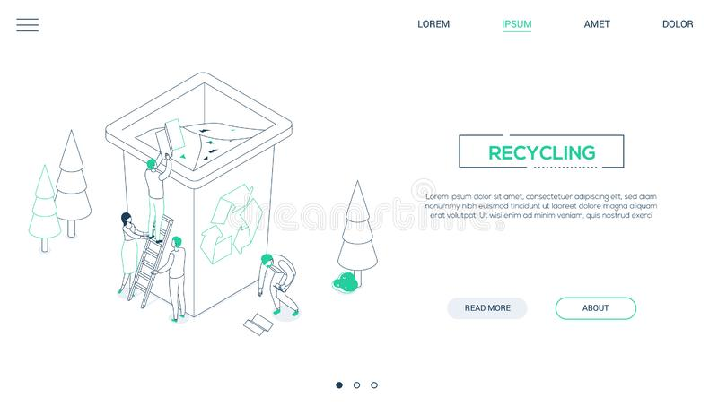 Recycling - line design style isometric web banner. On white background with copy space for text. A header with male, female characters sorting waste, dropping vector illustration