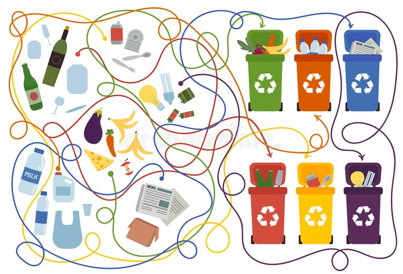 Recycling maze for kids with a solution vector illustration