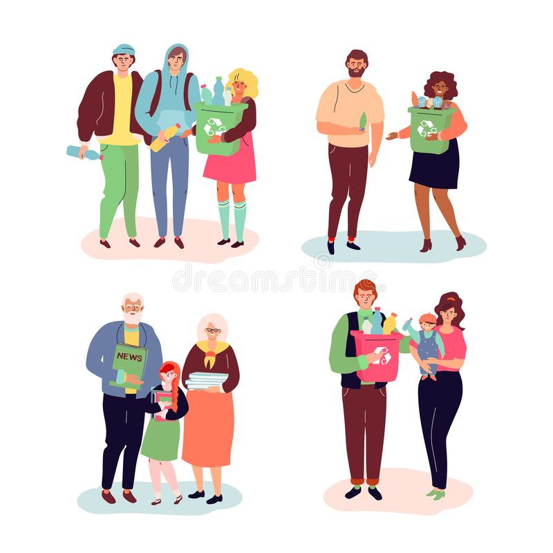 Recycling - modern colorful flat design style illustration. Male, female characters, teenagers, adults, couple, family and senior people holding recyclables royalty free illustration