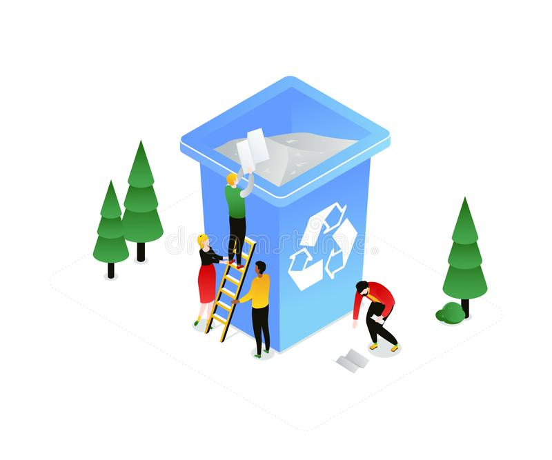 Recycling - modern colorful isometric vector illustration. On white background. Quality composition with male, female characters sorting waste, dropping litter royalty free illustration