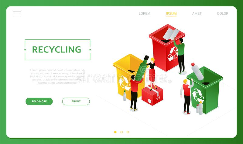 Recycling - modern colorful isometric vector web banner. With copy space for text. Website header with male, female characters sorting waste, dropping plastic stock illustration