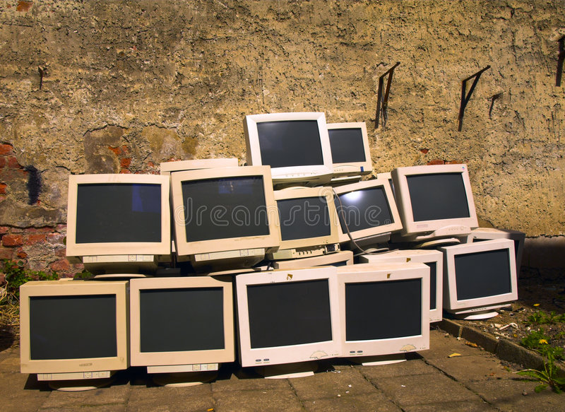 Recycling monitors stock images
