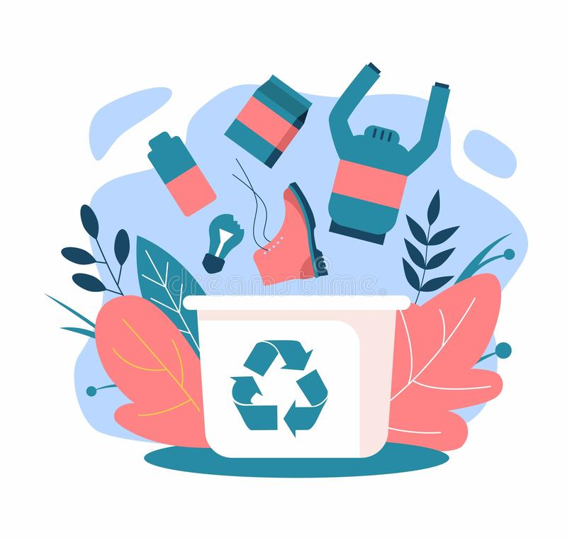 recycling Nul afval Huisvuildalingen in het afval stock illustratie