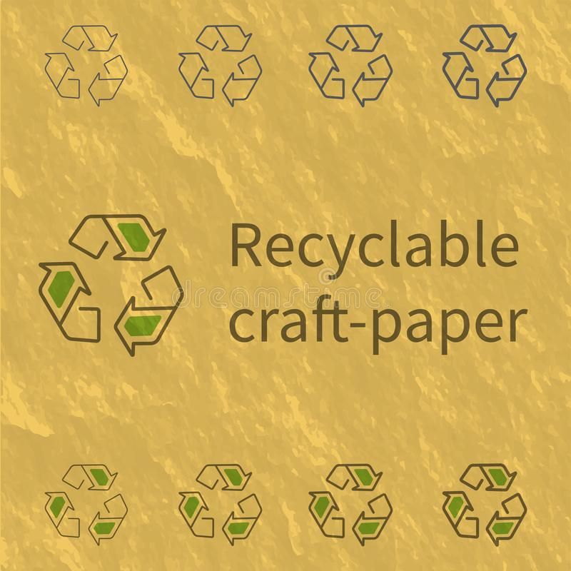 Recycling outline icon on craft-paper texture vector illustration.  royalty free illustration