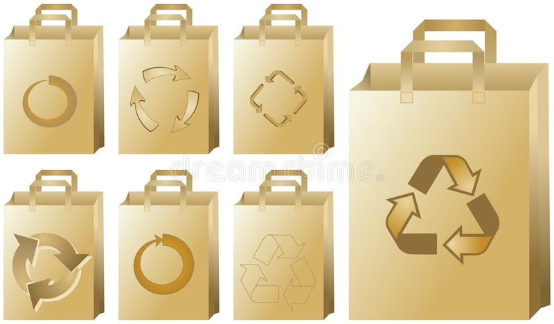 Recycling paper bags. A set of recycling paper bags with different recycle symbols royalty free illustration