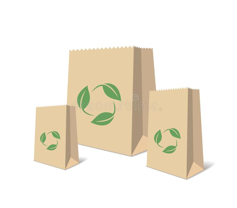 Recycling Paper Bags. Illustration Of Recycled Brown Shopping Paper Bags. Isolated Illustration vector illustration