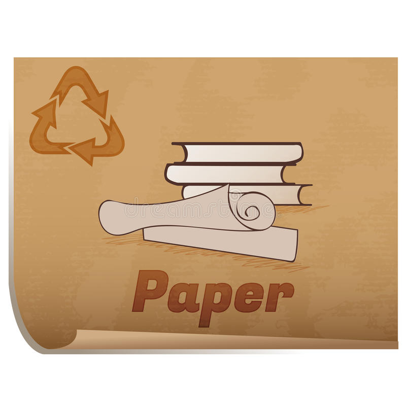 Recycling paper memo. /Retro recycling banner with books and rolled up paper stock illustration