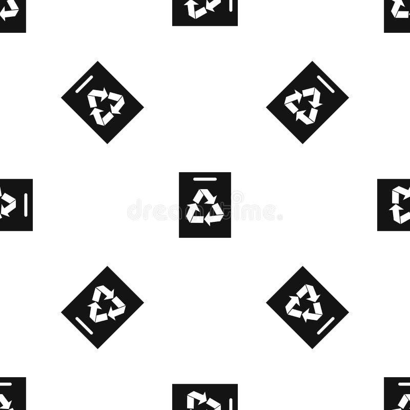 Recycling pattern seamless black vector illustration