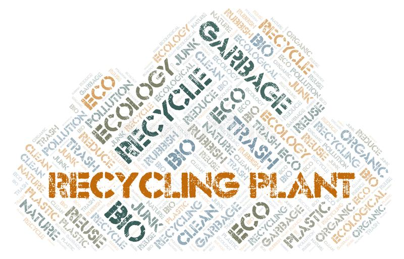 Recycling Plant word cloud. Wordcloud made with text only royalty free stock photography
