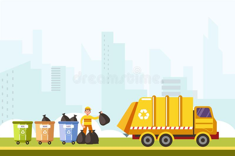 Recycling process of gathering rubbish from separated container. S bin vector. Man working collecting waste to put in transport with bags. Recycle service in vector illustration