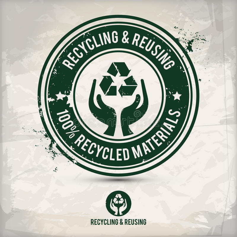 Recycling and reusing. Alternative recycling and reusing stamp on textured background, which is made from several transparent layers for a worn, rubbed effect stock illustration