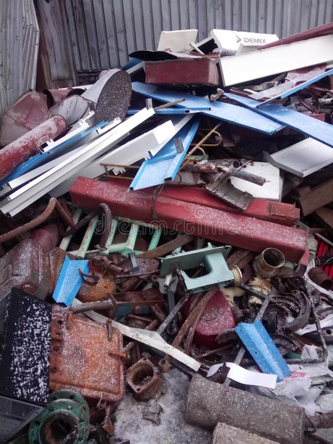 Recycling of scrap metal. Scrap metal Reception and recycling point stock image
