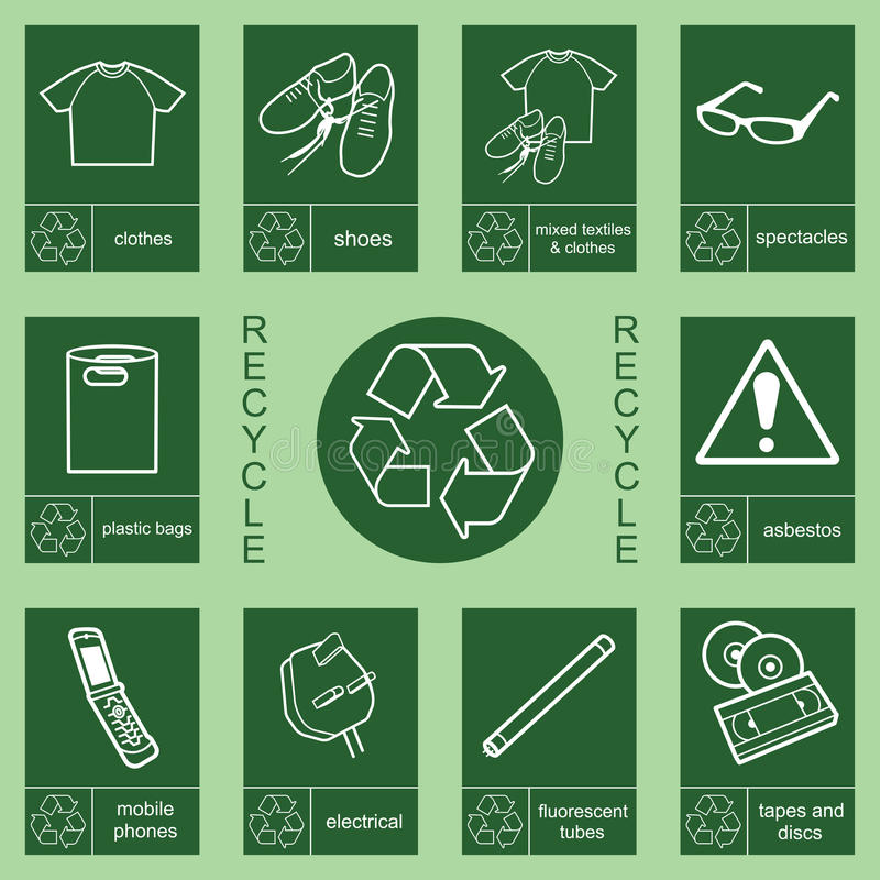 Recycling sign collection 2 royalty free illustration