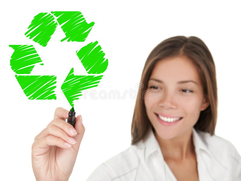 Download Recycling Sign Drawing Woman Stock Photography - Image: 17643592