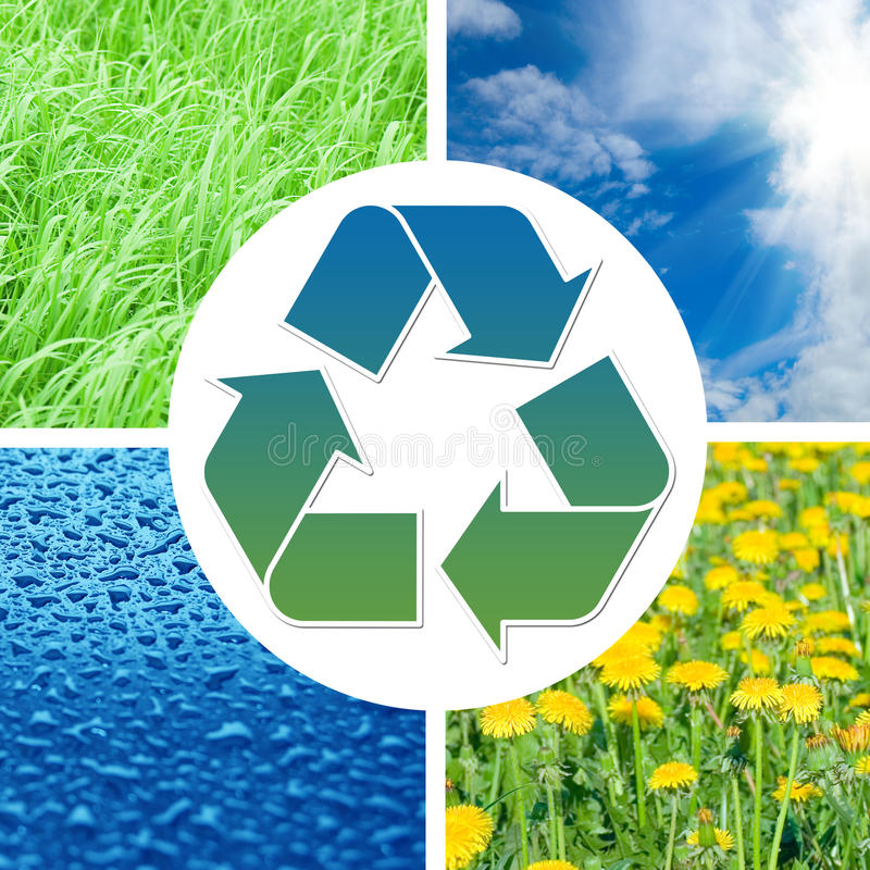 Download Recycling Sign With Images Of Nature Stock Illustration - Illustration of natural, field: 14816994