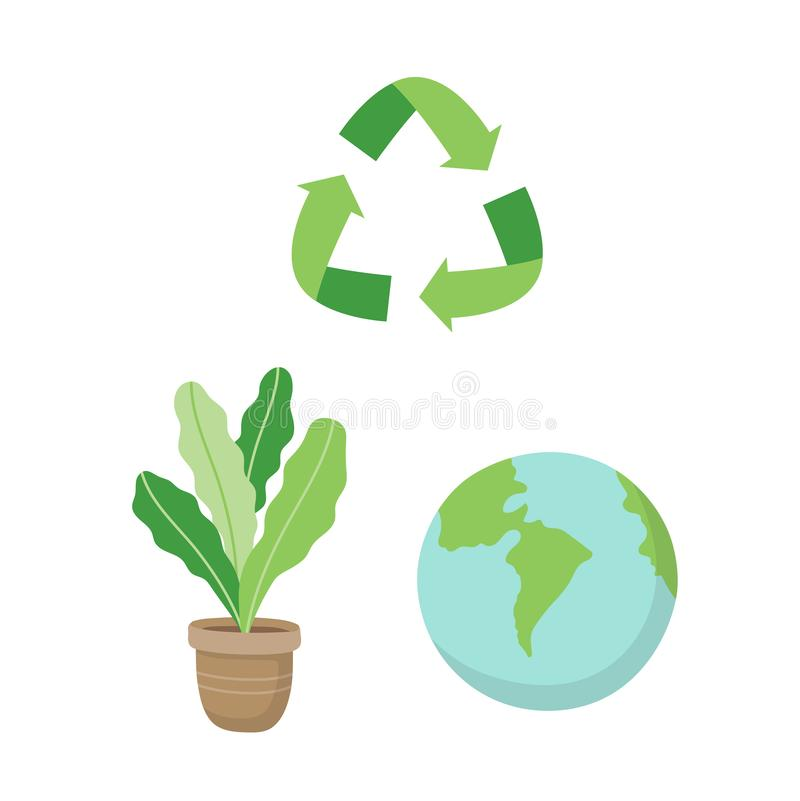 Recycling sign, a plant and a planet earth. Ecological concept illustration set in cartoon style, vector. Recycling sign, a plant and a planet earth. Ecological vector illustration