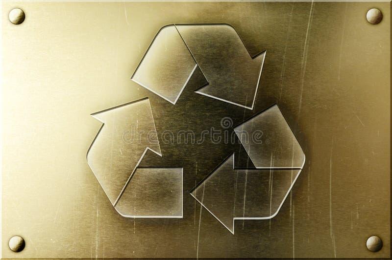 Recycling Sign on Shiny Brass Background royalty free stock photo