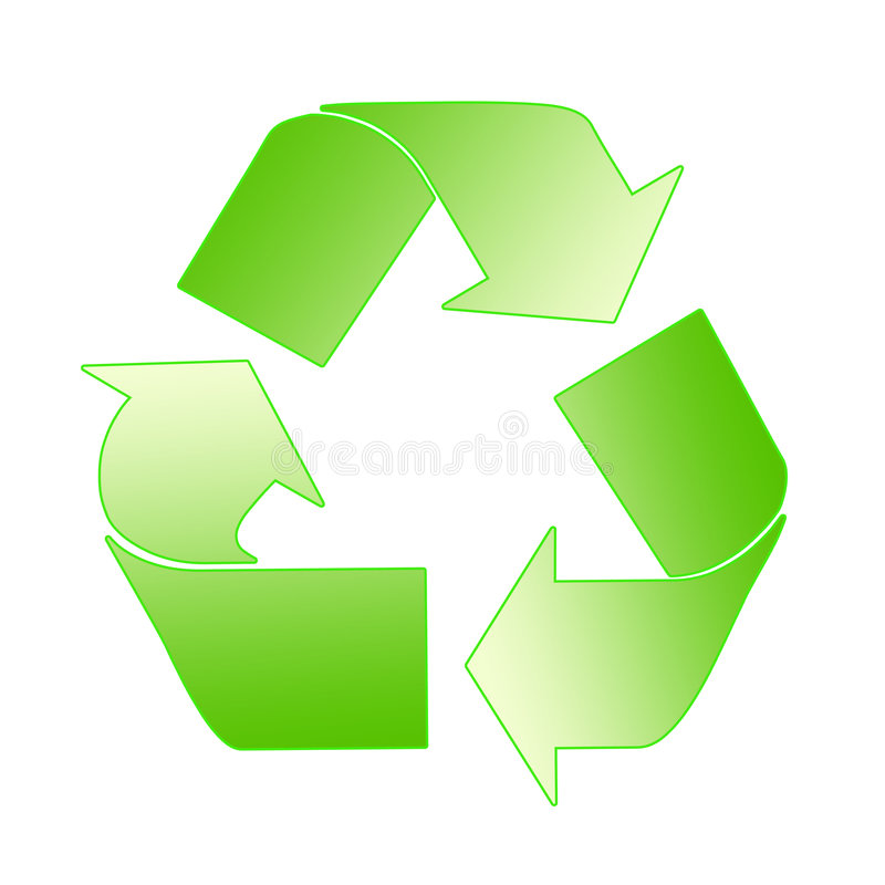 Recycling Sign In Yellow And Green vector illustration