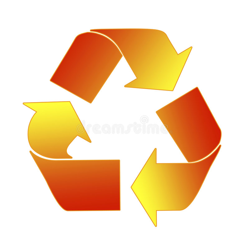 Recycling Sign In Yellow And Red royalty free illustration