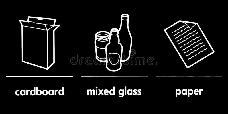 Recycling signs. Three various recycling signs in monochrome stock illustration