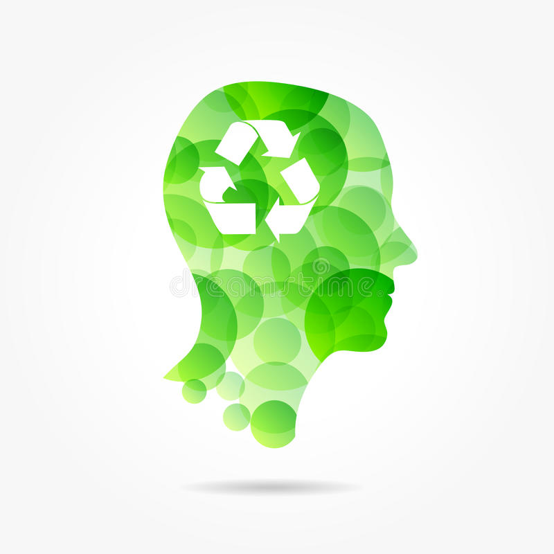 Recycling symbol in bubble head poster