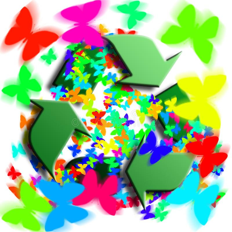 Download Recycling Symbol With Butterflies Stock Illustration - Illustration: 8363347