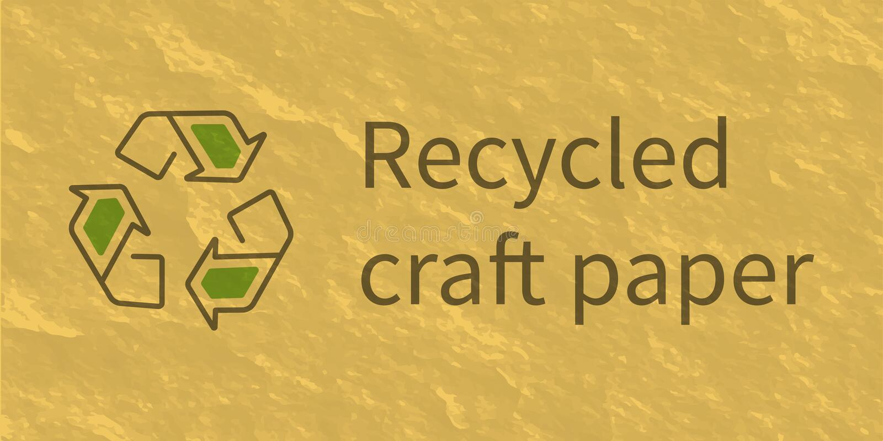 Recycling symbol on craft-paper texture vector illustration.  stock illustration